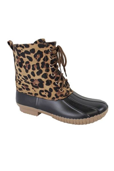 Leopard Print Lace Up Rubber Duck Boots-Black & Brown