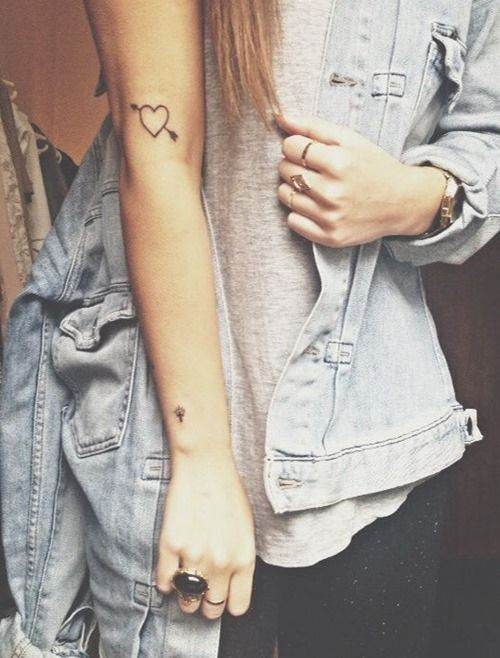 Small Heart with Arrow Tattoo for Girls on Arm