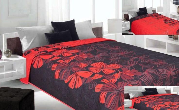 Dwustronne koce i narzuty w kolorze czarnym z ornamentem kwiatowym czerwonym