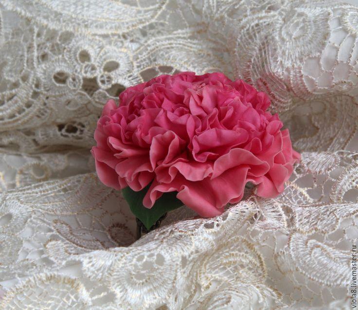 """Купить Браслет пион из полимерной глины """"Царственный пион"""" - украшение на рук - розовый, браслет-цветок"""