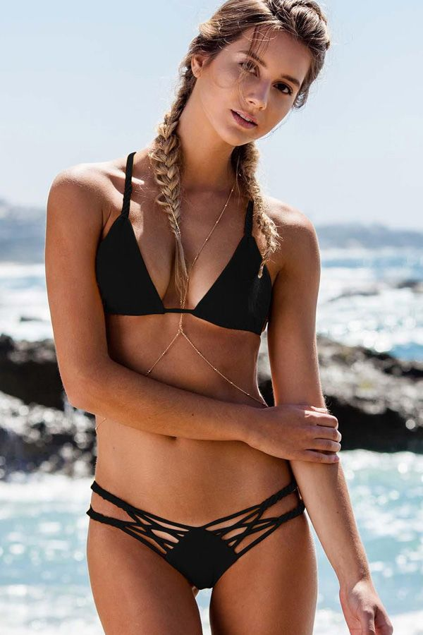 Women Solid Color Strappy Braided Sexy Micro Bikini Two Piece Swimsuit – Dark Re…