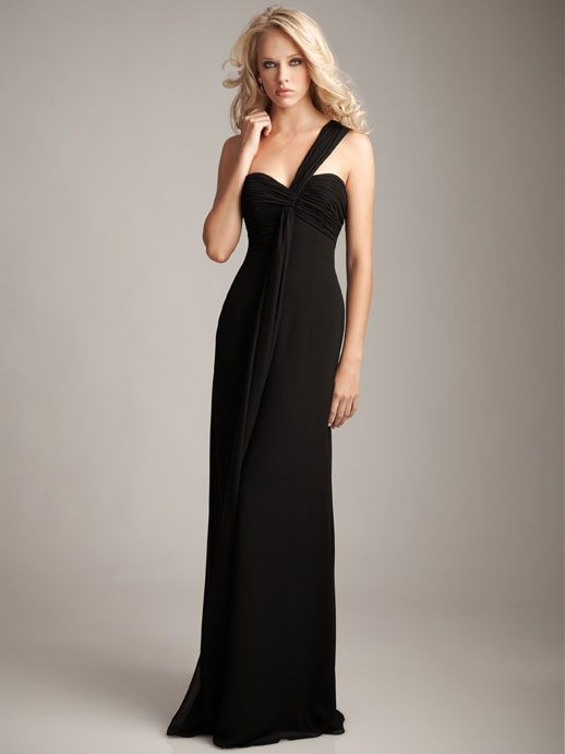 One shoulder chiffon with empire waist it would b perfect for either a bridesmai