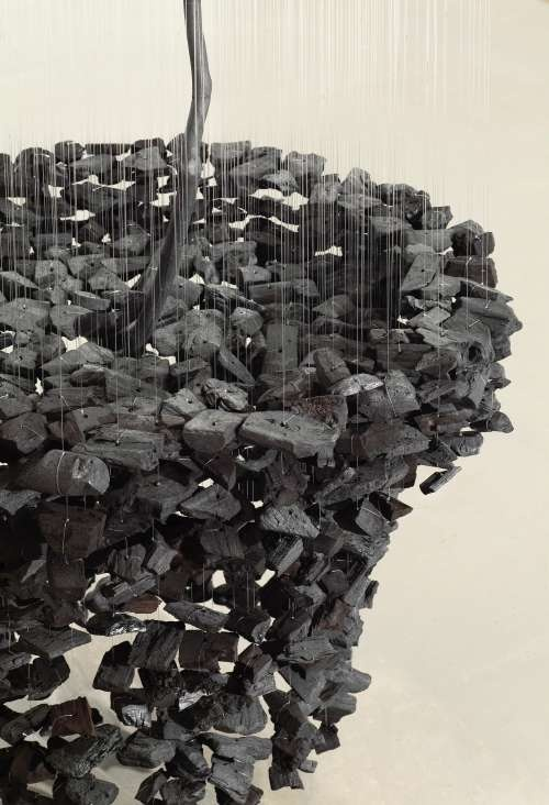 Suspended Charcoal Installation by Seon Ghi Bahk - detail