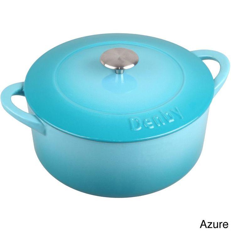 Denby Cast Iron Covered Round 4-liter Casserole Dish (Azure), Blue