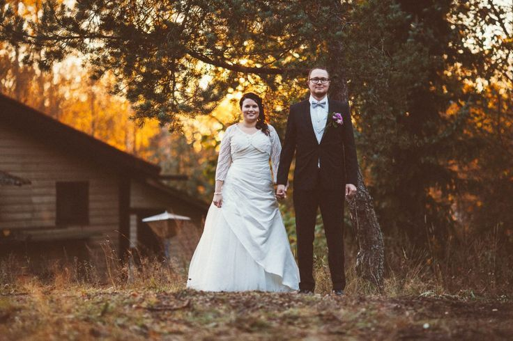 Wedding portrait with a sunset