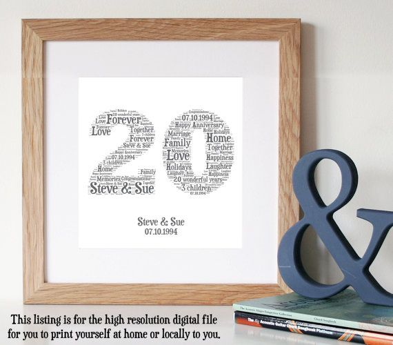 Personalised 20th Anniversary Gift Word Art Wedding Printable Unique For Print