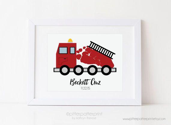 Fire Truck Nursery Art Print Baby Footprint by PitterPatterPrint