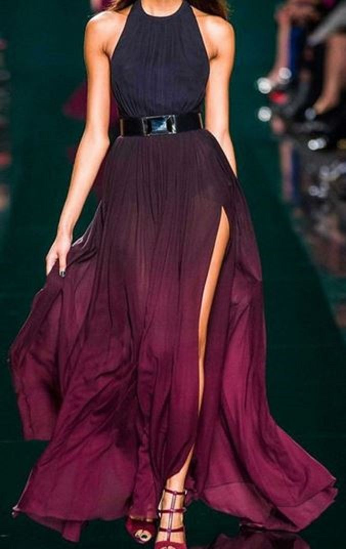 Love Love LOVE this Dress! Gorgeous Wine Color! Halter Ombre Color Sexy High Slit Maxi Dress