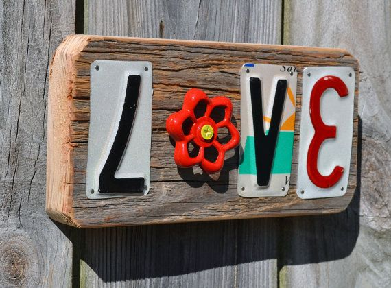 License plate art  Love  faucet handle by ruraloriginals on Etsy, $24.00