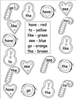 Kroger's Kindergarten-holiday sight and color words