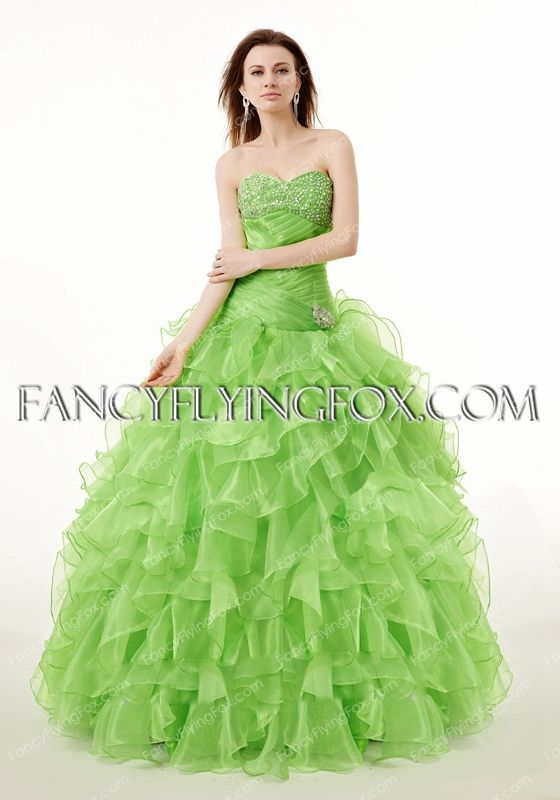 Fancyflyingfox Offers High Quality Dropped Waist Green Ball Gown Quinceanera Dress Priced At