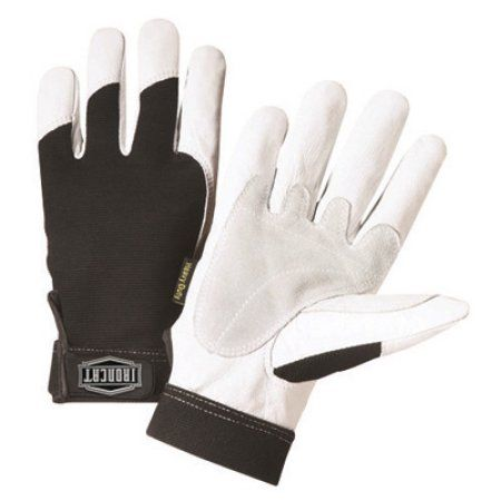 West Chester Large Black And White Ironcat Full Finger Split Kevlar And Goatskin Heavy Duty Mechanics Gloves With Hook And Loop Wrist And Spandex Back