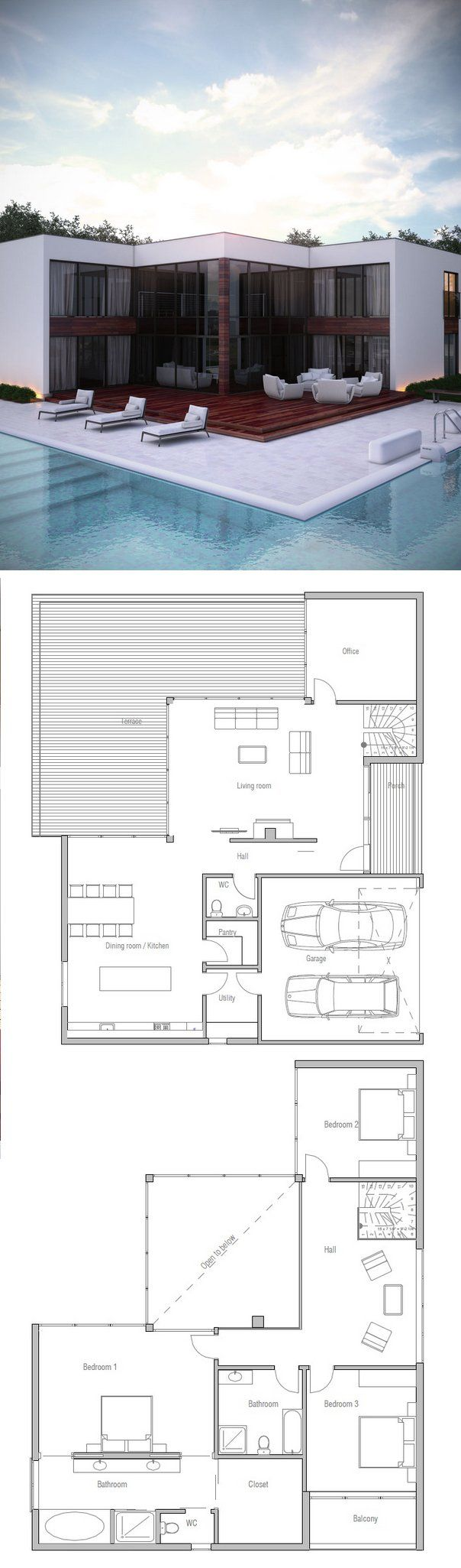Very cool 2 story modern loft house floor plan dont even need the swimming pool just a deck i like the open area on the floor looking down to the