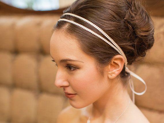 Double Bridal Headband / Embroidered Grecian Wedding Hairband / Bridal Hair Accessory (Athena Headband)