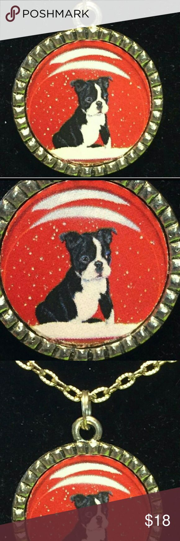 """FRENCH BULLDOG PUP SNOW ON RED 18"""" NECKLACE New with tags, Tibetan silver Jewelry Necklaces"""