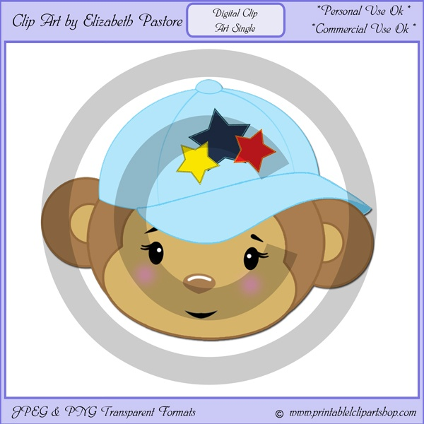 This clip art single of baby monkey face wearing a ... | Clip Art Sin ...