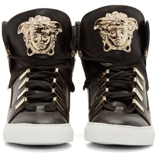 Versace Black Medusa High-Top Sneakers (14 800 ZAR) ❤ liked on Polyvore featuring shoes, sneakers, high top shoes, leather shoes, versace sneakers, versace shoes and black sneakers