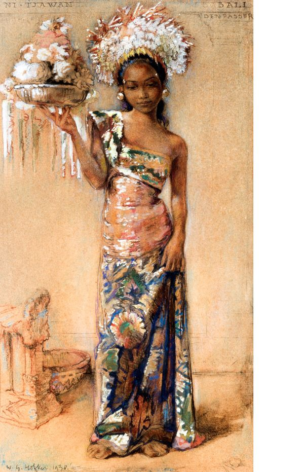 "How gorgeous is this? Willem Gerard Hofker (1902-1981), aquarel 'Ni-Tjawan' met een kroon van bloemen, richtprijs € 15.000-20.000 Ni Tjawan is the name of the model and you can see the words ""Bali, Denpasar"" on the right of the work."