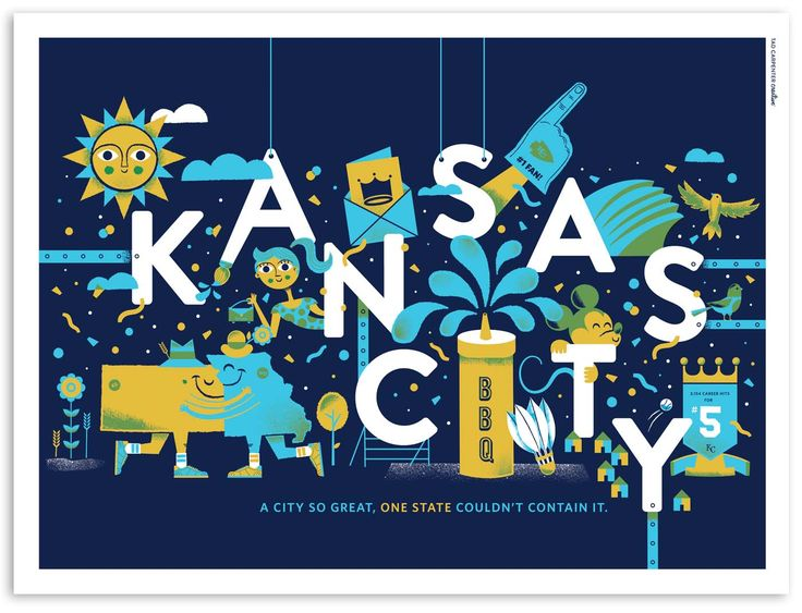 """A city so great, one state couldn't contain it."" My Kansas City Print by Tad Carpenter Creative"