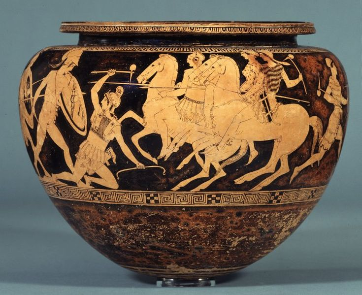 Pottery Red Figured Dinos Mixing Bowl With Theseus And The Amazons Ancient Greek And Roman