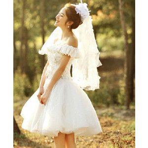 白ワンピース ミニドレス 花嫁 二次会 花嫁ミニドレス ウェディングドレスミニ ショート丈ドレス ドレスミニ チュールスカート