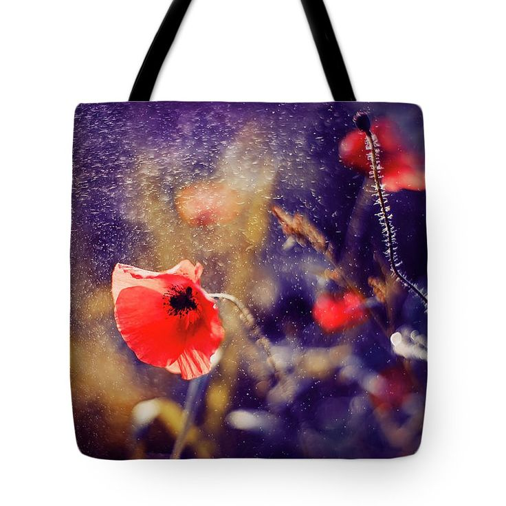 Tote Bag featuring the photograph Red Poppy On Violet by Oksana Ariskina. A red poppy flower in a sparkling bokeh violet sunny abstract background. Available as mugs, posters, greeting cards, phone cases, throw pillows, framed fine art prints, metal, acrylic or canvas prints, shower curtains, duvet covers with my fine art photography online: www.oksana-ariskina.pixels.com #OksanaAriskina