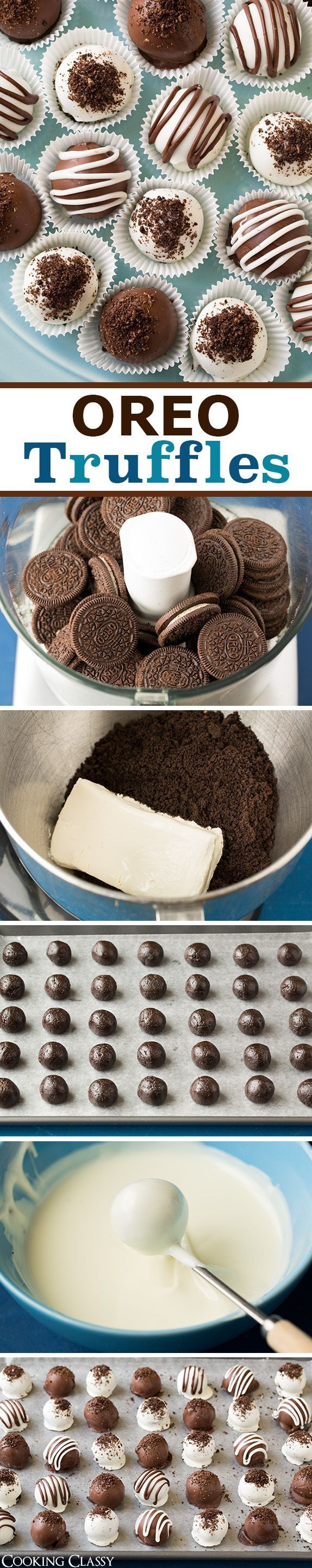 Trufas de oreo Ingredientes ♥- 1 paq. de galleta oreo ♥- Chocolate negro y blanco ♥- Queso crema