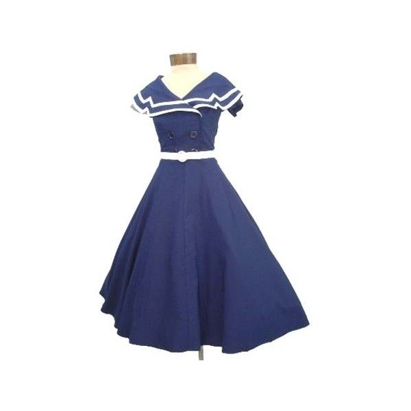 Nautical Style Navy White Swing Dress ($150) ❤ liked on Polyvore featuring dresses, short sleeve dress, short sleeve fit and flare dress, nautical dresses, fit and flare dress and zipper dress