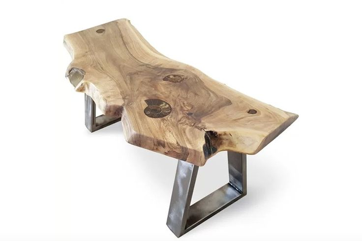 Four Ammonite Fossils are embedded throughout the walnut slab working in rhythm with the grain of the timber