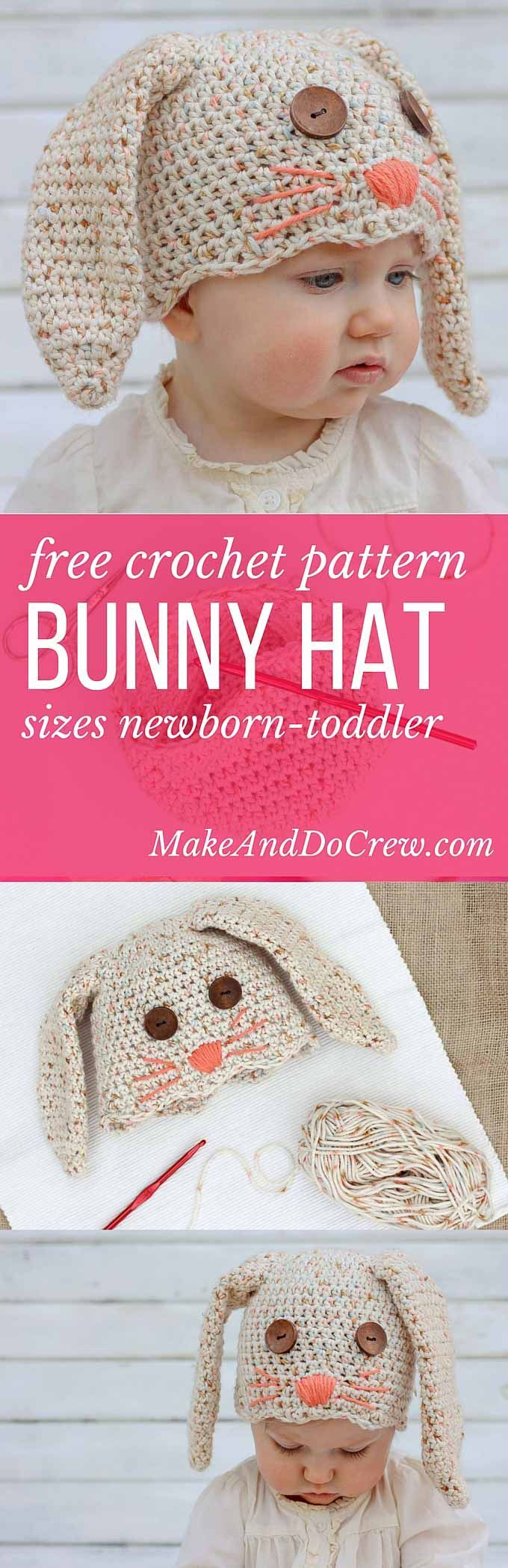 This free crochet bunny hat pattern makes a darling DIY Easter gift for your favorite baby or toddler. Sizes newborn, 3-6 months, 6-12 months, toddler/preschooler. Pair with our free crochet carrot baby toy pattern. Click for free pattern. | MakeAndDoCrew.com