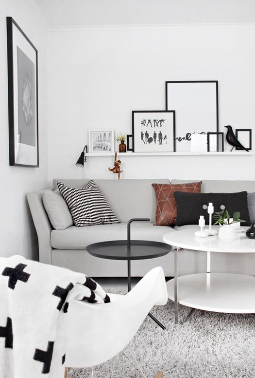 Lulu loves for my living room if I was on the Block - this grey couch and the chair and coffee tables