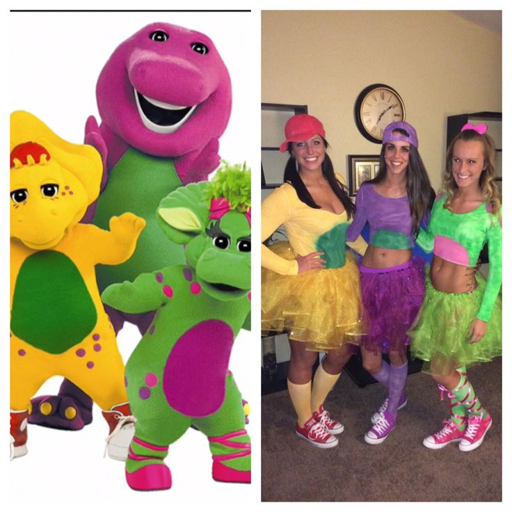 DIY Halloween costume: BJ, Barney, and Baby Bop! Spray painted white shirts, hats and socks, DIY tutus, and bought converse shoes ;)