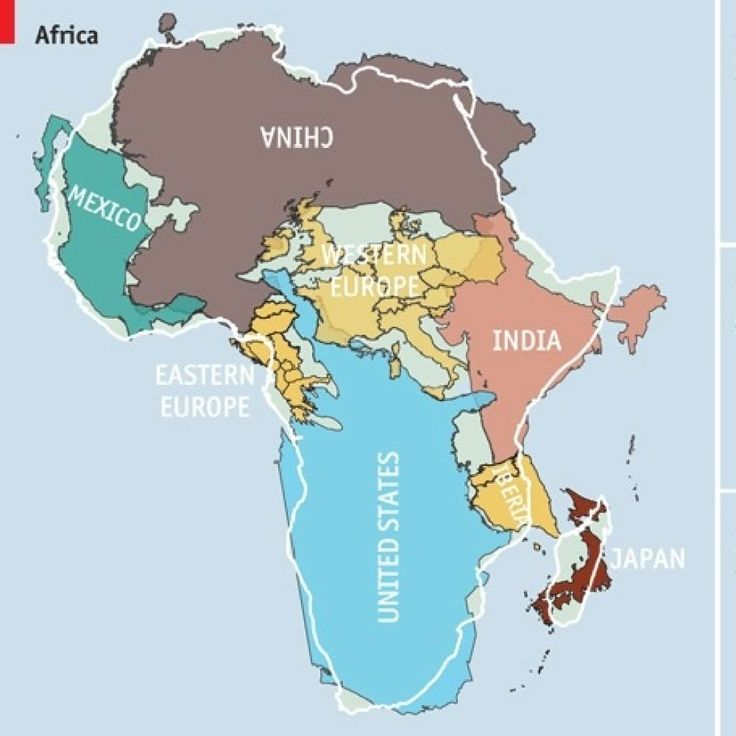 """""""Does Africa seem surprisingly large? If you're a student, then you've probably had some entry level geography. You know that Africa is an enormous land mass home to many diverse nations and biomes, but you probably never realized that all of the U.S., Japan, Eastern Europe, China, and India could fit into the continent. That's because every world map you've looked at until The Economist's version has been wrong in its representation of the true size of land masses."""""""