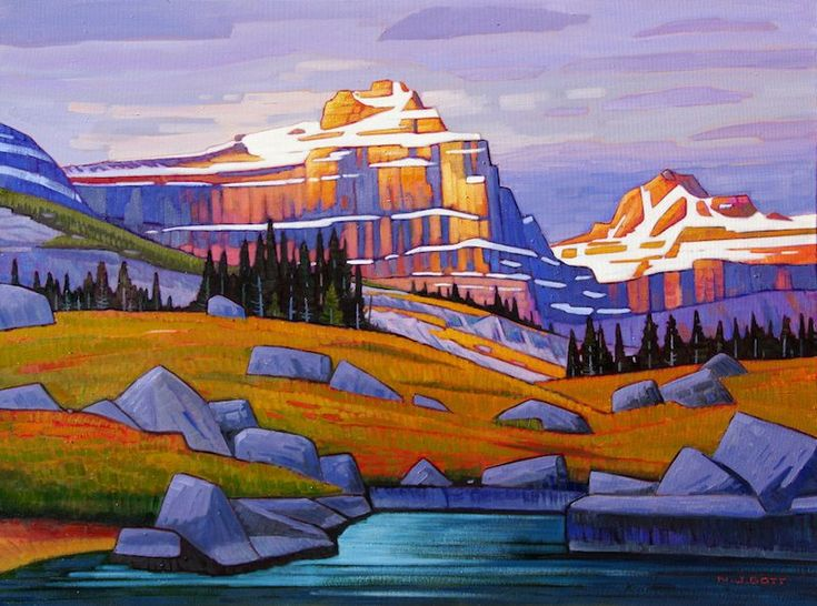 "Yet Another Enlightening New Painting by Artist Nicholas Bott.   'Epaulette Peak Tableau'  30"" x 40""  Oil on Canvas"