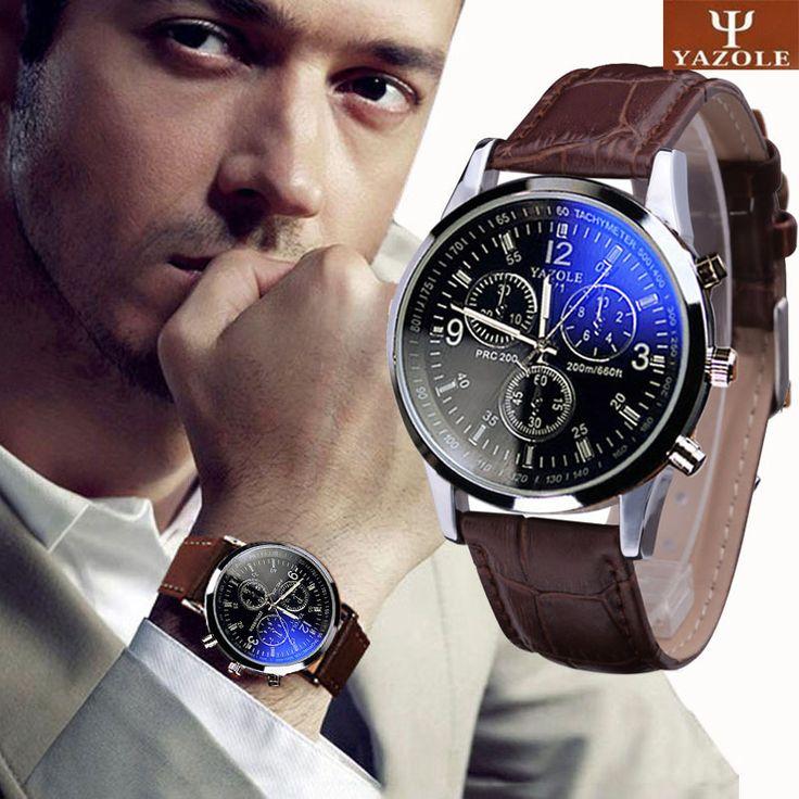 Splendid New Luxury Fashion Faux Leather Men Blue Ray Glass Quartz  Watches //Price: $14.66 & FREE Shipping //     #hashtag4
