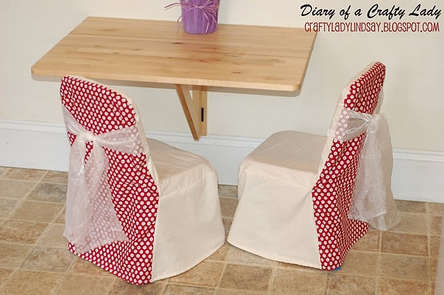 I see a shorter slipcover with a pleated bottom edge in the future of four little chairs at my house.