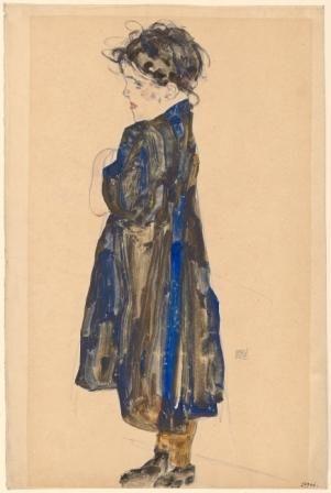 Egon Schiele, Halbwüchsiges Bauernmädchen, 1912 Aquarell, Deckfarben, Bleistift auf Strathmore Japanpapier