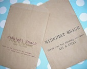 25 Midnight Snack Brown Kraft Favor Bags - Custom Wedding Favor Candy Buffet Lolly Bar - Contact for Other Quantities. $17.50, via Etsy.
