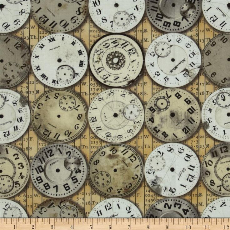 Tim Holtz Eclectic Elements Timepieces Neutral from @fabricdotcom  Designed by Tim Holtz, this cotton print fabric is perfect for quilting, apparel, crafts, and home decor items. Colors include beige, cream and taupe on khaki.