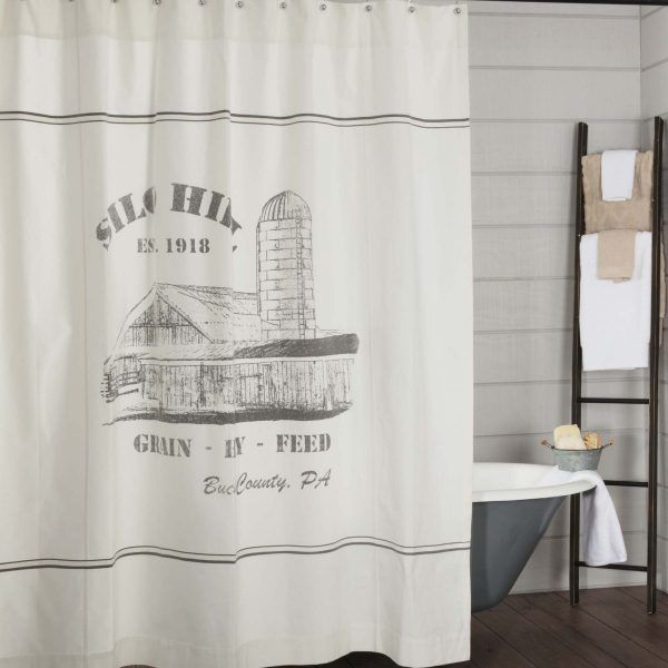 Silo Hill Shower Curtain Farmhouse Shower Curtain Rustic Shower