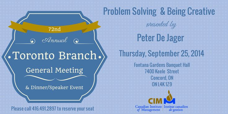 CIM Toronto branch will be holding their AGM and Keynote speaker event on Sept 25, 2014. For more info, visit http://bit.ly/1rAME9e