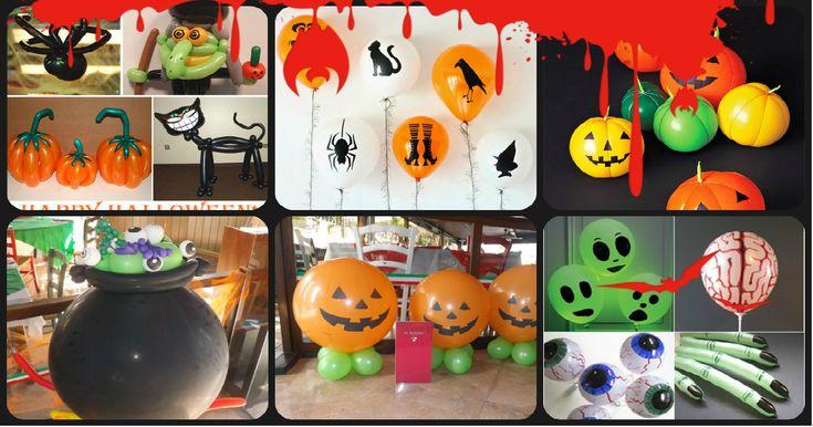 """GLOBOFLEXIA : Estupenda colección de ideas para decorar con globos para niños """"Halloween"""""""