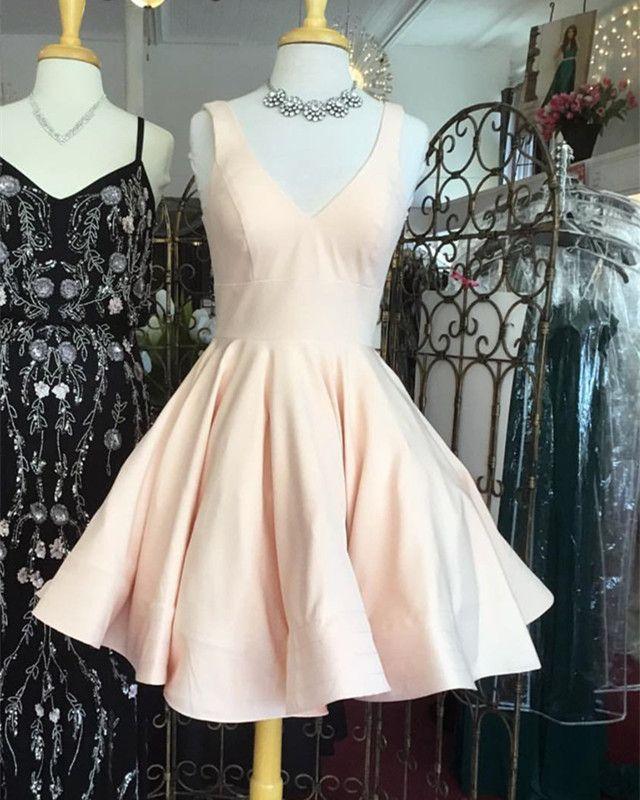 e5c2865fde650 Cute V Neck Ruffles Homecoming Dresses Short Mini Prom Dresses Ball ...