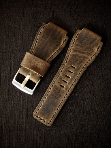 """Meet """"Honor"""", our Bell & Ross style brown handmade leather watch strap. Made in Australia."""