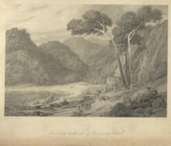 """William WESTALL """"View on the north side of Kanguroo [i.e. Kangaroo] Island [picture]"""" C. 1814"""