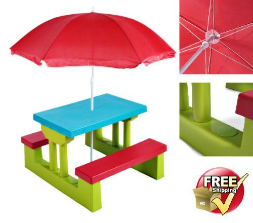 Kids Plastic Play Table & Bench Patio Picnic Set Parasol Outdoor Sun Shade Toy #Infantastic