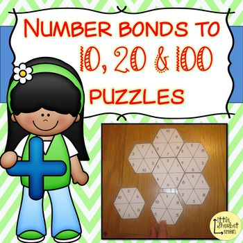 These puzzles are a fun and differentiated way of practising the important skill of knowing number bonds.  Included in this pack are 5 lots of each type of number bonds puzzle:  5 x number bonds to 10 (e.g. 4, 6)5 x number bonds to 20 (e.g. 12, 8)5 x number bonds to 100 using multiples of 10 (e.g. 30, 70)5 x number bonds to 100 using multiples of 5 (e.g. 45, 55)5 x number bonds to 100 (e.g. 31, 69)PLEASE NOTE THAT IS PRODUCT IS A BUNDLE OF MY NUMBER BONDS TO 10 & 20 PRODUCT AND NUMBER BON...