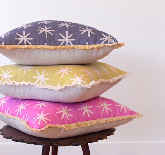 Ma and Grandy Starry Cushions in Navy, Mustard and Pink.  http://www.maandgrandy.com/