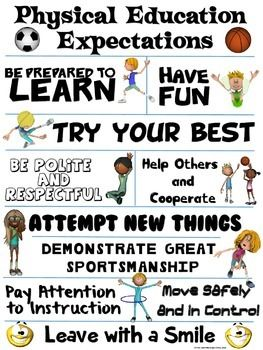 FREE Physical Education Expectations Poster