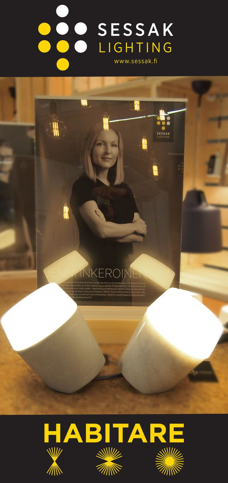 Louhi tablelamp designed by Jenni Inkeroinen on the Sessak's stand on Habitare 2016, Finland's leading event for furniture and interior decoration and design